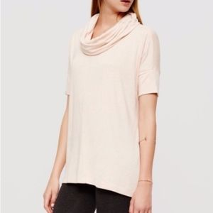 Lou & Grey Soft Blush Short Sleeve Cowl Neck